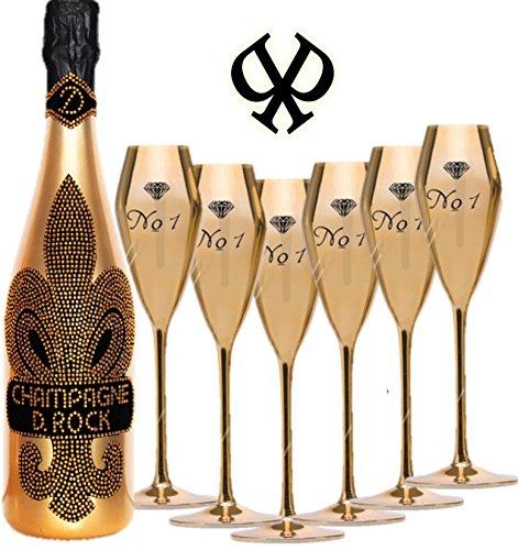 Champagner VE Champagne D. Rock Diamond Rock mit über 1000 geschliffenen Schmuckkristallen - jede Flasche ein Unikat -dazu 6 Golden Glasses Champagner Gläser
