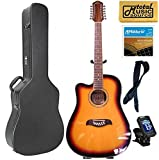 Oscar Schmidt LEFT HAND 12-String A/E Guitar, Active EQ, Sunburst, Case Bundle OD312CETSLH