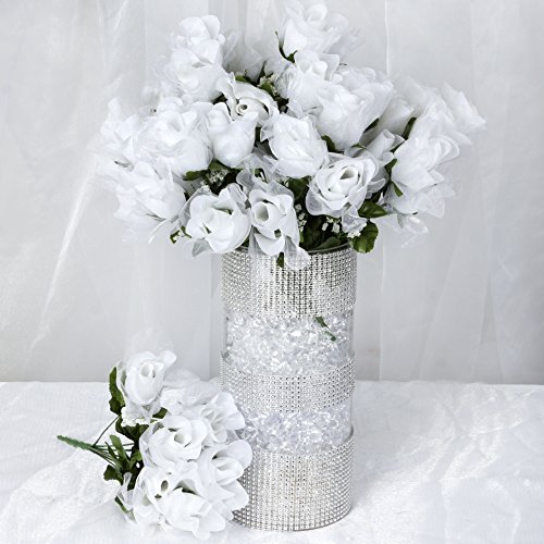 BalsaCircle 252 White Organza Rose Buds - 36 bushes - Artificial Flowers Wedding Party Centerpieces Arrangements Bouquets