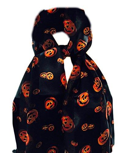 Womens Jack O'Lantern Pumpkins Halloween Scarf Black