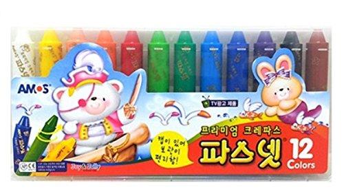 (Amos Pasnet, Premium Non-toxic Silky Color Crayon, 12 Colors)