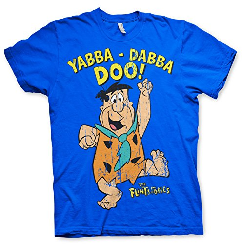 The Flintstones Officially Licensed Yabba-Dabba-Doo T-Shirt (Blue), Small