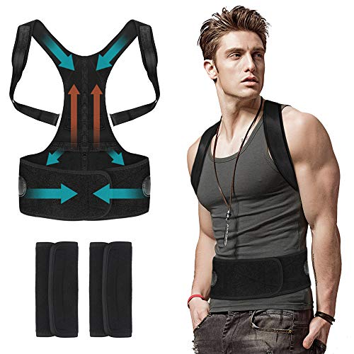 Back Posture Corrector for Men Women Under Clothes - Flipcase Adjustable Magnetic Back Straightener, Comfortable Back Brace for Spinal, Neck, Shoulder & Upper Back Pain Relief (M(29.5