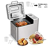Stainless Steel Bread Machine - 2LB Automatic Bread Maker with 15 Programs,15 Hours Delay Timer, 1 Hour Keep Warm