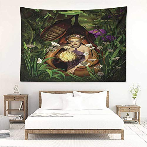 (alisos Princess,Wall Decor Tapestry A Female Elf Sitting with A Lantern in A Cocoon Mysterious Greenery Nighttime 80W x 60L Inch Tapestry Wallpaper Home Decor Green Brown)