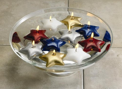 Biedermann /& Sons 2-Count White Glitter Star Floating Candles Pack of 6