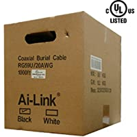 RG59 Coaxial Cable, Outdoor Burial, 20AWG, 65% Braid, 1000FT, Pull Box, Black, UL Standard