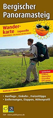 Bergischer Panoramasteig: Leporello Wanderkarte mit Ausflugs-, Einkehr- & Freizeittipps, Entfernungsangaben, Etappen und Höhenprofil, wetterfest, ... 1:30000 (Leporello Wanderkarte / LEP-WK)