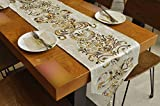BLUETOP Table Runners Wedding 82'x13' Beautiful Hot Stamping Table Runners with Tassel Classic Modern Simple Style Dining Table Cloth for Weddinng Party Home Decor Beige