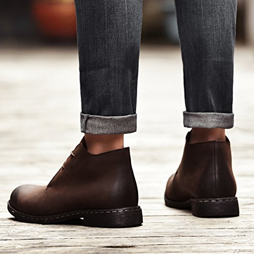 Marrone Stivali Piatto 2 Invernali Boots Caldo da Yiiquan Stile Stivaletti Uomo Britannico Neve Scarpe Aqt7t1
