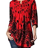 FEITONG Women 3/4 Sleeve Circular Neck Floral Tunic Tops Loose Blouse Irregular Hem T-Shirt (XX-Large,Red )