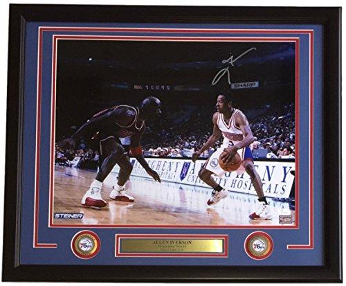 Michael Jordan Photo - Allen Iverson Philadelphia 76ers Signed Framed 16x20 Jordan Crossover Photo JSA ITP