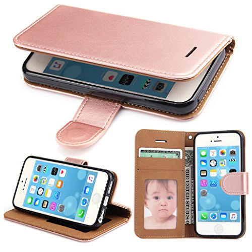 iPhone 5S Case, iPhone 5 Case - SOWOKO iPhone SE Leather Wallet Case Slim Flip Case, Shockproof Protective Phone Cover for Apple iPhone 5S/5/SE (Rose Gold)