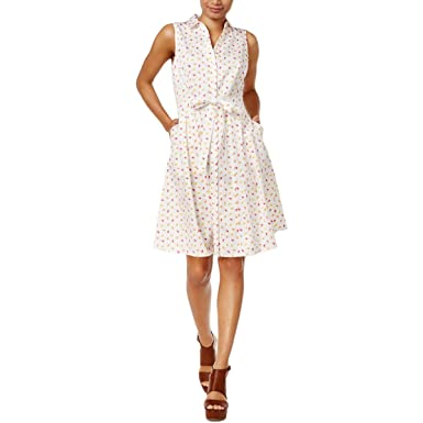 78a20639 Maison Jules Popsicle Print Sleeveless Button Front Shirt Dress at Amazon  Women's Clothing store: