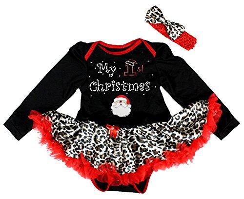 My 1st Christmas Baby Dress Santa Claus Black L/s Bodysuit Leopard Tutu Nb-18m (Infant Santa Dress)