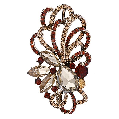 EVER FAITH Antique Gold-Tone Austrian Crystal Flower Ribbon Teardrop Brooch Pendant ()