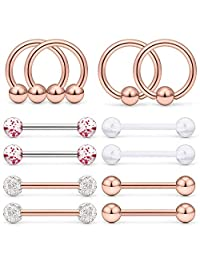 D.Bella 12PCS Tongue Ring Nipple Ring 14G Stainless Steel Horseshoe Clear Flexible Acrylic Septum Barbell Hoop Rings Body Piercing Jewelry 14MM