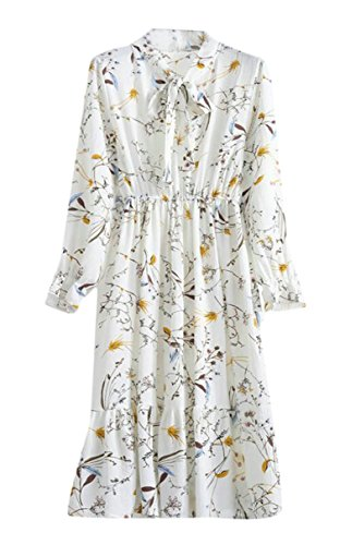 Print Women Sleeve Floral Long Midi Dress Jaycargogo Spring Chiffon 9 fg1nA