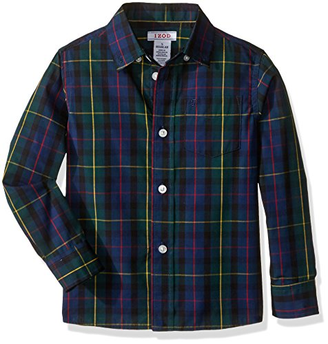 Izod Little Boys' Long Sleeve Plaid Button-Down Shirt,