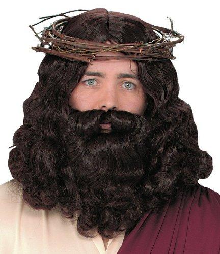 Fun World Men's Jesus Wig Set, Multi, Standard -