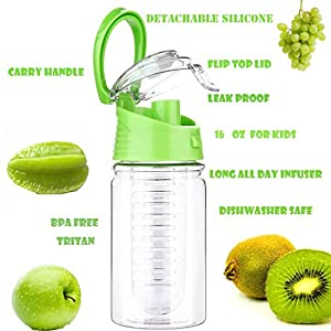Weshine Flavor It 16 Ounce Kids Infuser Water Bottle(Green)