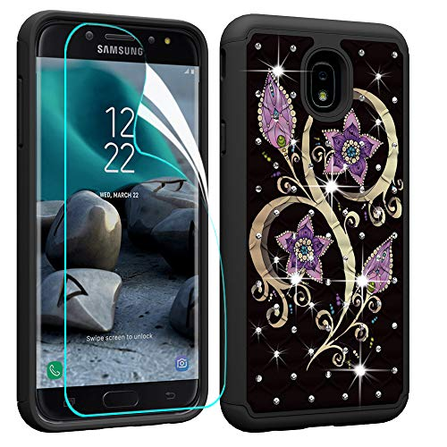 Price comparison product image Berry Accessory Galaxy J7 2018 Case with Screen Protector, Galaxy J7 Star / J7 Aura / J7 Aero / J7 Top / J7 Crown Glitter Sparkle Bling Studded Rhinestone Crystal Hybrid Dual Layer Armor Case Purple Butterly