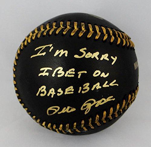 Pete Rose Signed 'Sorry I Bet On Baseball' Rawlings OML Black Baseball- JSA (Signed Black Baseball)
