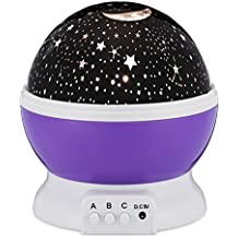 Bananas Over Baby Moon Star Light Projector 4 LED Colors 8 Modes, Starry Sky 360º Rotating Projection Night Lamp for Baby, Kids, Children's Boys and Girls Bedroom - Purple