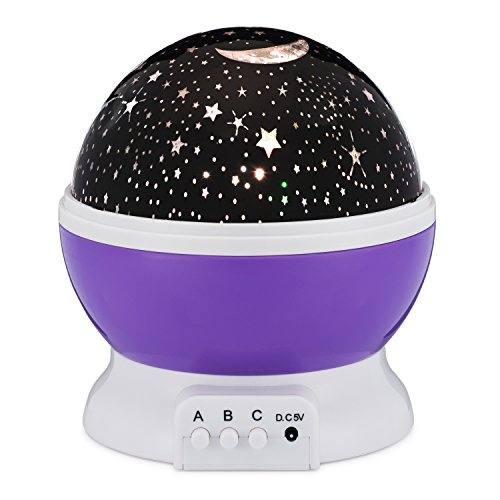 Star Night Light Rotating Indoor Projector Lamp Galaxy Moon & Space Twilight Ceiling Lighting for Baby Kids Children's Room, 4 LED Starry Rainbow Cosmos Colors, Romantic Mood Sky Best 1 Nursery Gift by Bananas Over Baby