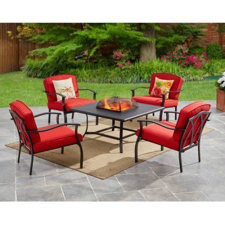 Mainstays Belden Park 5-Piece Fire Pit Set, Red