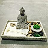 The Table Top Zen Garden Plus Buddha, Includes Zen Stone, White Sand, Rocks, Candle and Rake, 5 7/8