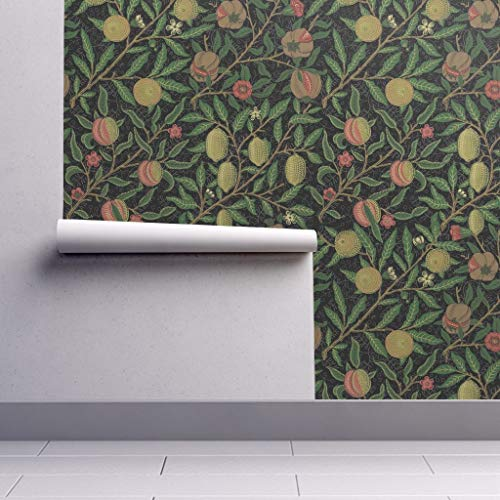 Peel-and-Stick Removable Wallpaper - William Morris William Morris Fruit Pomegranate Victorian Arts by Peacoquettedesigns - 12in x 24in Woven Textured Peel-and-Stick Removable Wallpaper Test Swatch
