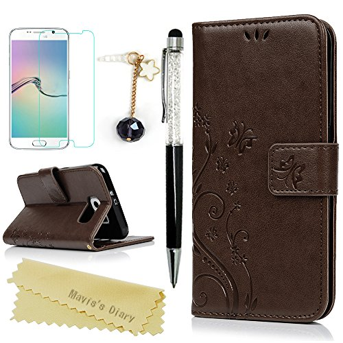Galaxy S6 Wallet Case - Mavis's Diary Premium Leather with Fashion Floral Flip Cover for Samsung Galaxy S6 Non-Edge with Hand Strap & Dust Plug & Crystal Pen & Screen Protector - Brown