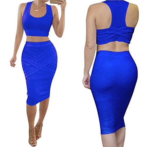 Bess Bridal Womens Crop Top Midi Sexy Outfit Two Pieces Bodycon Bandage Dresses, Medium, Blue Two Piece Bridal Dress