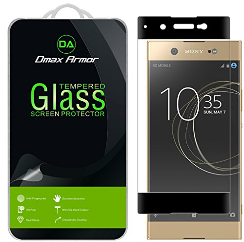 Dmax Armor for Sony Xperia XA1 Ultra [Tempered Glass] Screen Protector, (Full Screen Coverage) (Black)