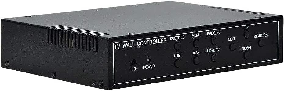 CUHAWUDBA Controlador de Pared de Video TV de 4 Canales 2X2 1X3 Procesador de Video 1X2 Soporte de Empalme de TV 4 Hdmi Dvi Vga Puerto USB Entrada EU Enchufe: Amazon.es: Electrónica