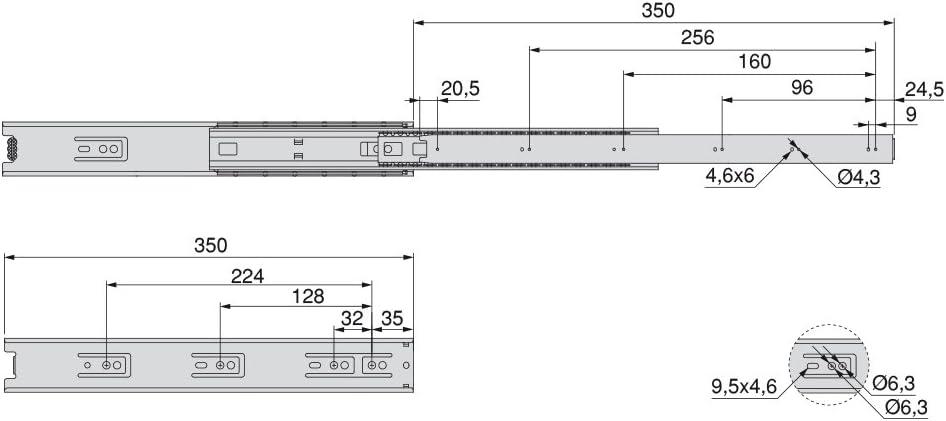 vollauszug mit Rollen 45mm x 350mm Emuca 3007205 Set Schubladenf/ührungen
