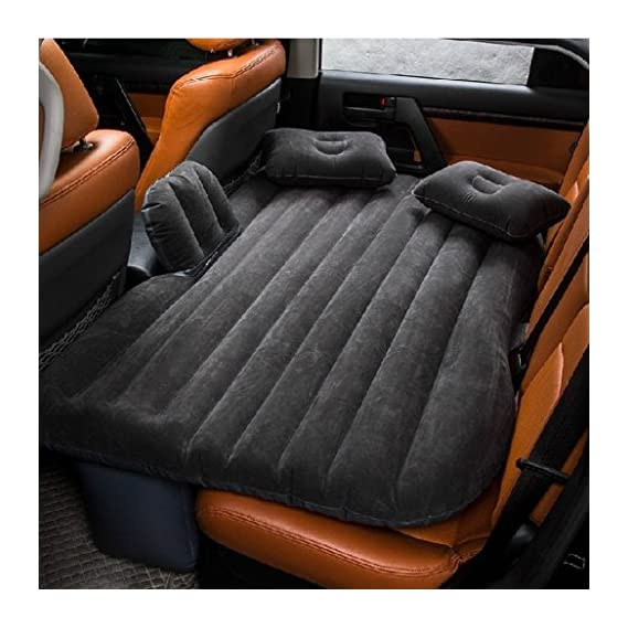AREO Polyester Inflatable Air Bed Car Mattress (Orange)