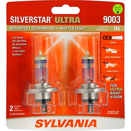 SYLVANIA 9003/H4 SilverStar Ultra Halogen Headlight Bulb, (Contains 2 Bulbs)