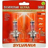 SYLVANIA 9003 (also fits H4) SilverStar Ultra High Performance Halogen Headlight Bulb, (Pack of 2)