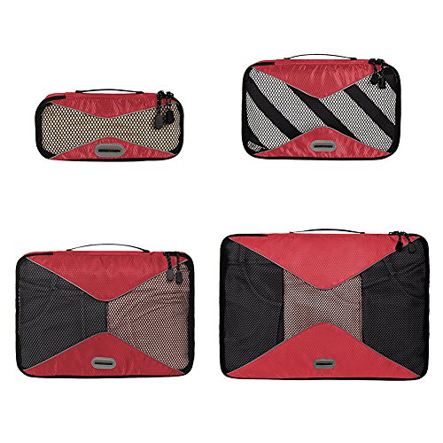 4 Piece Strawberry (Travel Organizer Packing Cubes and Compression Pouches,4 Pieces, Strawberry)