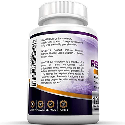 51nNTntvZlL - BRI Resveratrol - 1200mg Maximum Strength Natural Antioxidant Supplement for Longevity Premium, Ultra Pure Veggie Caps Promote Healthy Heart and Brain Function and Immune System Health (120 Capsules)