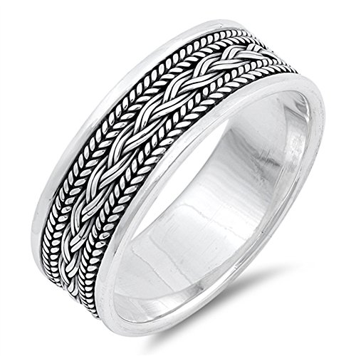 (Rope Knot Design Celtic Ring .925 Sterling Silver Wide Wedding Band Size 9)