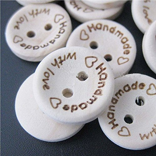Zduang 100pcs Wholesale Decorative Craft Buttons Hand Made with Love Sewing Wood Buttons Handmade Button Scrapbooking - Buttons Wholesale Sewing