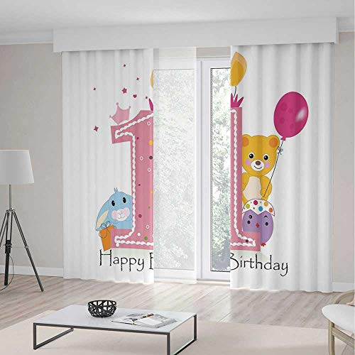 (TecBillion Blackout Curtains for Bedroom,1st Birthday Decorations,for Bedroom Living Dining Room Kids Youth Room,Princess Girl Party Cake with Candle Teddy Bear Print,236Wx106L Inches)