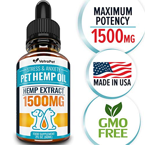 Hemp Oil For DOGS and CATS – 1500 MG – Natural HEMP Extract and Hemp Oil for Pets – Made in USA – Best for Dog Anxiety, Pain Relief and Joint Support for Dogs – Pet Omega 3, 6, 9 – Order RISK-FREE