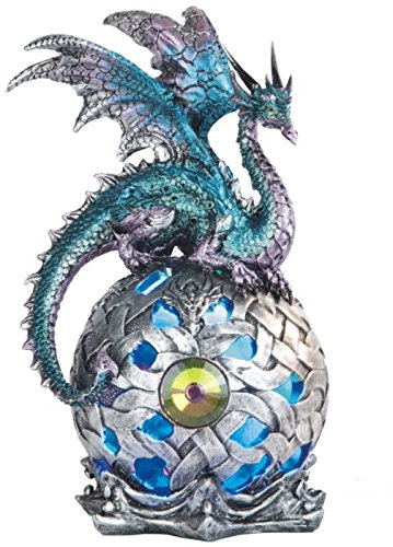 George S. Chen Imports StealStreet SS-G-71512 Dragon on Light Up LED Orb Statue Display, 8.25''/Large, Aqua by George S. Chen Imports
