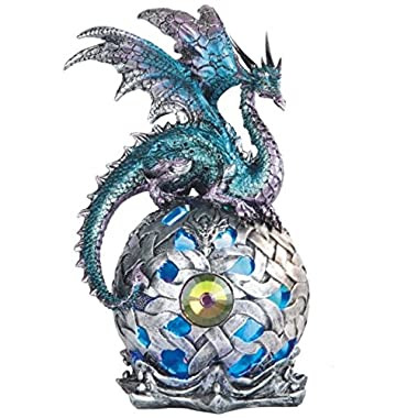 George S. Chen Imports StealStreet SS-G-71512 Dragon on Light Up LED Orb Statue Display, 8.25 /Large, Aqua