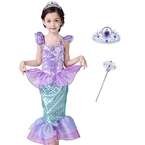 Mermaid Costume Princess Ariel Generic Dress with Crown and Magic Wand for Little Girls Party (Size 4)