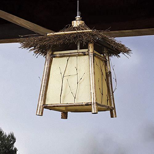 ... IP23 Diseño Lámpara Colgante De Bambú Luces Colgantes Rústicas Altura Ajustable E27 Socket Luces De Cobertizo De Seguridad Reflector: Amazon.es: Hogar